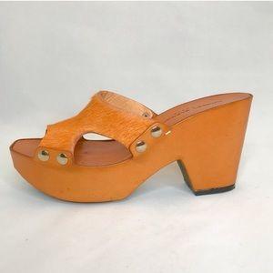 Robert Clergerie Orange Calf Hair Platform Sandal
